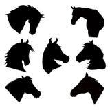 Geplaatste de silhouetten van paardhoofden Stock Illustratie