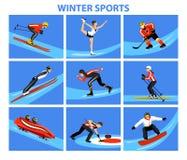 Geplaatste de Sneeuwsporten van het de winterijs stock illustratie