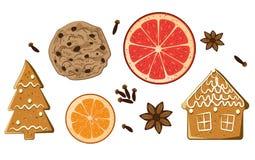 Geplaatste de snoepjes van de Kerstmisvakantie Amerikaanse koekje, van de cijferpeperkoek, van de grapefruit, van de anjer en van Stock Foto