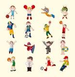 Geplaatste de spelerpictogrammen van de sport Stock Foto