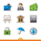 Geplaatste de sticker van het pictogram - financiën Royalty-vrije Stock Foto