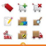 Geplaatste de sticker van het pictogram - Internet het winkelen Stock Afbeelding