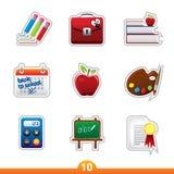 Geplaatste de sticker van het pictogram - onderwijs Stock Afbeeldingen