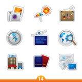 Geplaatste de sticker van het pictogram - reis Stock Afbeelding