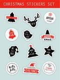 Geplaatste de stickers van de Kerstmiswinter, etiketten, markeringen, en flarden met het van letters voorzien Stock Afbeeldingen