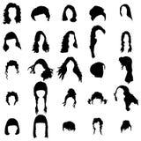Geplaatste de stijlsilhouetten van het vrouwenhaar royalty-vrije illustratie