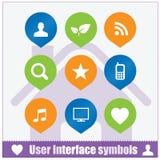 Geplaatste de symbolen van het Webgebruikersinterface Stock Foto