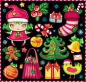 Geplaatste de symbolen van Kerstmis! Royalty-vrije Stock Fotografie