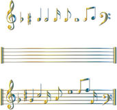 Geplaatste de symbolen van muzieknoten Stock Foto's