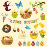 Geplaatste de symbolen van Pasen stock illustratie