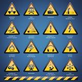 Geplaatste de tekens van het gevaar vector illustratie