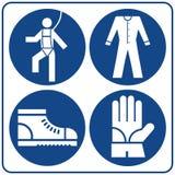 Geplaatste de tekens van de veiligheid Informatie verplicht symbool in blauwe die cirkel op wit wordt geïsoleerd Berichtetiket stock illustratie