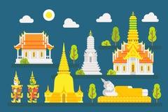 Geplaatste de tempel infographic elementen van Thailand Royalty-vrije Stock Foto's