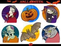 Geplaatste de Thema's van het Beeldverhaal van Halloween Royalty-vrije Stock Foto