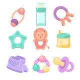 Geplaatste de toebehoren van de baby Leuk ontwerp, pastelkleuren Stock Foto