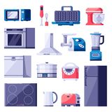 Geplaatste de toestellenpictogrammen van het keukenhuis en ontwerpelementen Kokend elektronika modern materiaal Vector vlakke ill stock illustratie