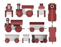 Geplaatste de treinen van het stuk speelgoed stock illustratie