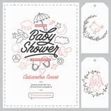 Geplaatste de uitnodigingsmalplaatjes van de babydouche Hand getrokken uitstekende illustratie Stock Foto's