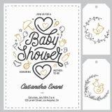 Geplaatste de uitnodigingsmalplaatjes van de babydouche Hand getrokken uitstekende illustratie royalty-vrije illustratie