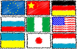 Geplaatste de vlaggen van de wereld Royalty-vrije Stock Fotografie
