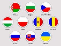 Geplaatste de vlaggen van Oost-Europa Ronde pictogrammen Vectorstickersinzameling De Europese vlaggen van landen Wit-Rusland, Bul royalty-vrije illustratie