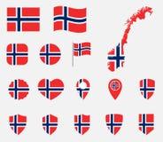 Geplaatste de vlagpictogrammen van Noorwegen, nationale vlag van Koninkrijk van Noorwegen vector illustratie