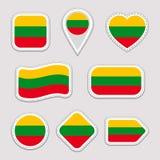 Geplaatste de vlagstickers van Litouwen Litouwse nationale symbolenkentekens Geïsoleerde geometrische pictogrammen Vector officië stock illustratie