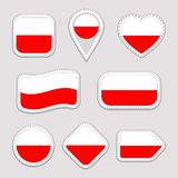 Geplaatste de vlagstickers van Polen Poolse nationale symbolenkentekens Geïsoleerde geometrische pictogrammen Vector officiële vl royalty-vrije illustratie