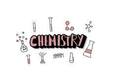 Geplaatste de voorwerpen van de chemiekrabbel Vectorillistration stock illustratie