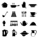 Geplaatste de voorwerpen van de keuken Stock Foto's