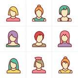 Geplaatste de Vrouwenpictogrammen van de pictogrammenstijl Royalty-vrije Stock Afbeeldingen