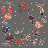 Geplaatste de vuisthandschoenen van de winterhoeden kaart Stock Afbeeldingen