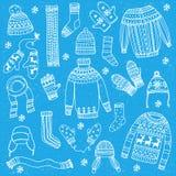 Geplaatste de winterkleren vector illustratie