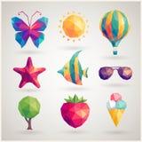 Geplaatste de zomer - geometrische pictogrammen Stock Fotografie