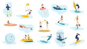 Geplaatste de zomer oceaanactiviteiten Watersport, vakantie stock illustratie