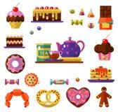 Geplaatste dessertpictogrammen Stock Afbeeldingen