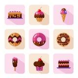 Geplaatste dessertpictogrammen Royalty-vrije Stock Foto