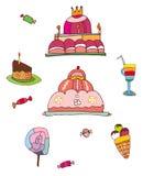 Geplaatste desserts en snoepjes Royalty-vrije Stock Afbeeldingen