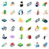 Geplaatste dialoogpictogrammen, isometrische stijl Royalty-vrije Stock Afbeeldingen