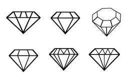 Geplaatste diamant vectorpictogrammen Stock Afbeeldingen