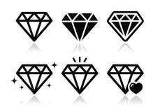 Geplaatste diamantpictogrammen Stock Afbeelding