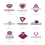 Geplaatste diamantpictogrammen royalty-vrije illustratie