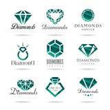 Geplaatste diamantpictogrammen vector illustratie