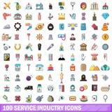 100 geplaatste dienstenindustriepictogrammen, beeldverhaalstijl Stock Afbeelding