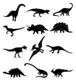 Geplaatste dinosauruspictogrammen Royalty-vrije Stock Foto's