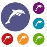 Geplaatste dolfijnpictogrammen stock illustratie