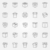 Geplaatste doospictogrammen Stock Fotografie