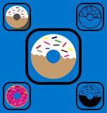 Geplaatste doughnutpictogrammen Stock Afbeelding