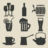 Geplaatste drankpictogrammen vector illustratie