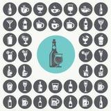Geplaatste drankpictogrammen Stock Foto